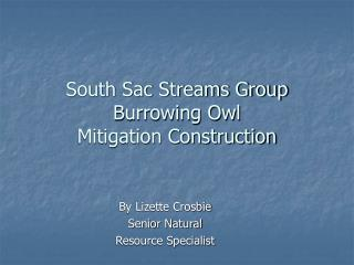 South Sac Streams Group  Burrowing Owl Mitigation Construction