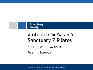 Application for Waiver for Sanctuary 7 Pilates