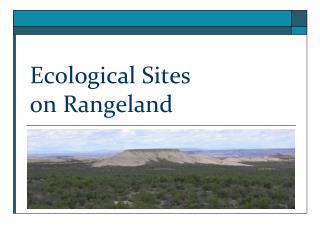 Ecological Sites on Rangeland