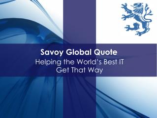 Savoy Global Quote