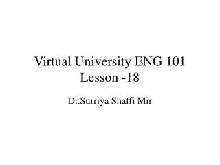 Virtual University ENG 101 Lesson -18