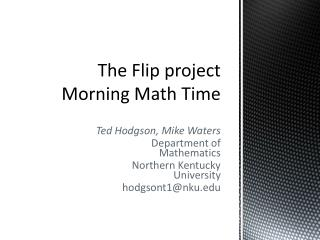 The Flip project Morning Math Time