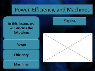 Power, Efficiency, and Machines