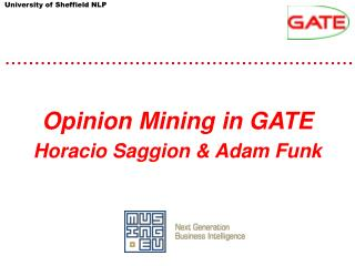Opinion Mining in GATE Horacio Saggion & Adam Funk