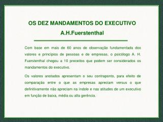 OS DEZ MANDAMENTOS DO EXECUTIVO A.H.Fuerstenthal