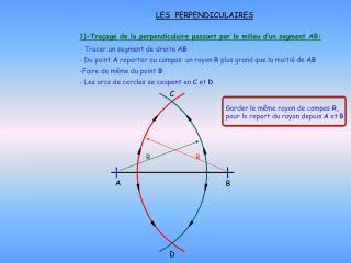 1)-Traçage de la perpendiculaire passant par le milieu d'un segment AB: