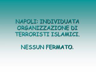 NAPOLI: INDIVIDUATA ORGANIZZAZIONE DI TERRORISTI ISLAMICI.  NESSUN FERMATO .