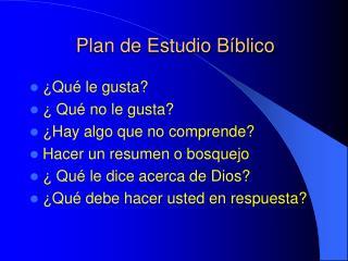 Plan de Estudio Bíblico