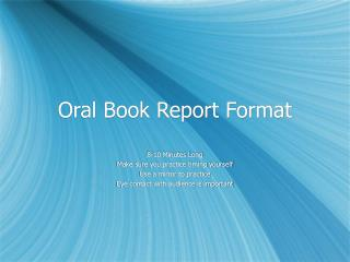 Oral Book Report Format