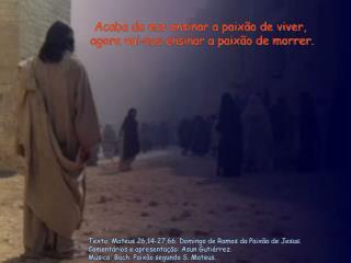 Texto: Mateus 26,14-27,66. Domingo de Ramos da Paixão de Jesus.