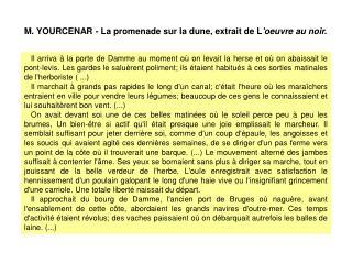 M. YOURCENAR - La promenade sur la dune, extrait de L 'oeuvre au noir.