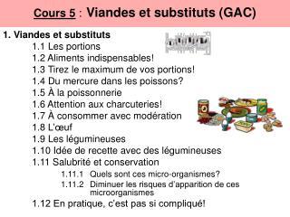 Cours 5  : Viandes et substituts (GAC)