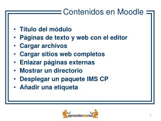 Título del módulo Páginas de texto y web con el editor Cargar archivos Cargar sitios web completos