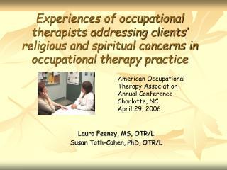 Laura Feeney, MS, OTR/L Susan Toth-Cohen, PhD, OTR/L