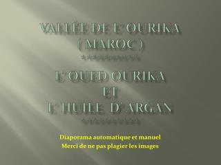 Vallée de l'  ourika ( Maroc ) ********** L' oued  ourika et L' huile  d' argan **********