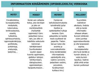 INFORMAATION KERÄÄMINEN (OPISKELIJOILTA) VERKOSSA