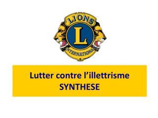 Lutter contre l'illettrisme SYNTHESE