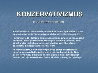 KONZERVATIVIZMUS
