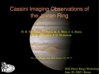 Cassini Imaging Observations of the Jovian Ring