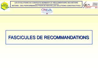 FASCICULES DE RECOMMANDATIONS
