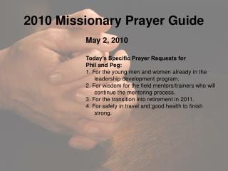 2010 Missionary Prayer Guide