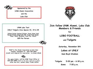 Join fellow UNM Alumni, Lobo Club Members & Friends for LOBO FOOTBALL and  Tailgate