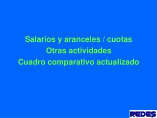 Salarios y aranceles / cuotas Otras actividades Cuadro comparativo actualizado