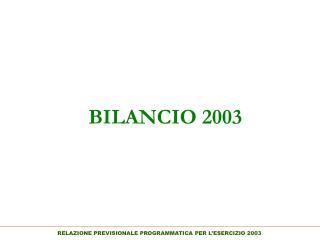 BILANCIO 2003