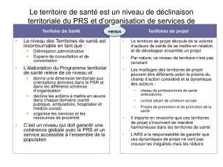 Le territoire de sant  est un niveau de d clinaison territoriale du PRS et d organisation de services de proximit