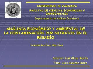 UNIVERSIDAD DE ZARAGOZA FACULTAD DE CIENCIAS ECON�MICAS Y EMPRESARIALES