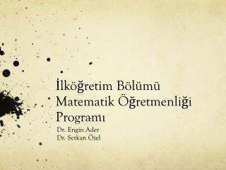 İlköğretim Bölümü  Matematik  Öğretmenliği Programı