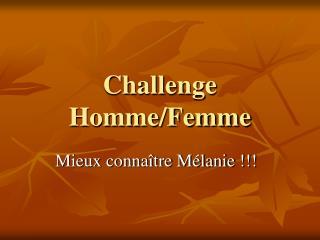 Challenge Homme/Femme