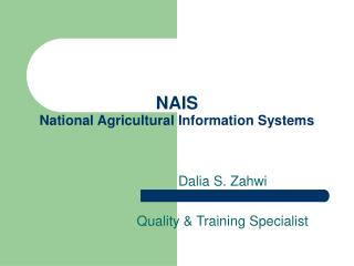 NAIS National Agricultural Information Systems