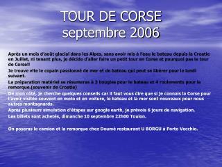 TOUR DE CORSE septembre 2006