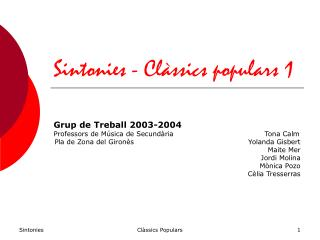 Sintonies - Clàssics populars 1