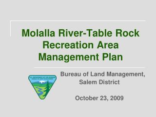 Molalla River-Table Rock Recreation Area Management Plan