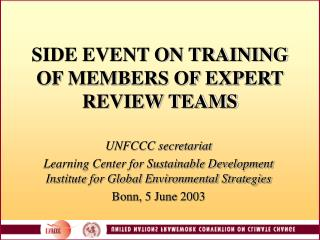 SIDE EVENT ON TRAINING OF MEMBERS OF EXPERT REVIEW TEAMS