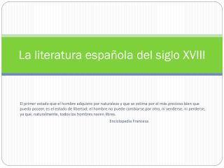 La literatura española del siglo XVIII