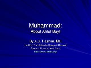 Muhammad: About Ahlul Bayt