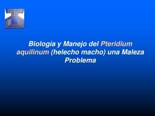 Biología y Manejo del  Pteridium aquilinum  (helecho macho) una Maleza  Problema