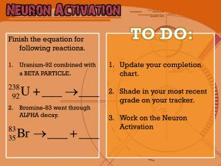 Update your completion chart.  Shade in your most recent grade on your tracker.