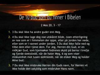 De 10 bud som du finner i Bibelen