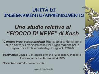 UNITÀ DI INSEGNAMENTO/APPRENDIMENTO