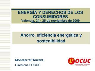 ENERGÍA Y DERECHOS DE LOS CONSUMIDORES Valencia, 24 - 25 de noviembre de 2009