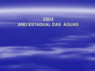 2004  ANO ESTADUAL DAS  ÁGUAS