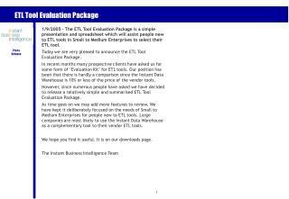 ETL Tool Evaluation Package