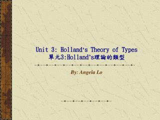 Unit 3: Holland s Theory of Types  3:Holland s