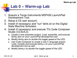 Lab  0  – Warm-up Lab