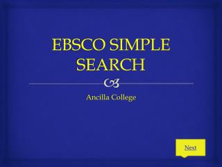 EBSCO SIMPLE SEARCH