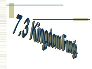 7.3 Kingdom Fungi